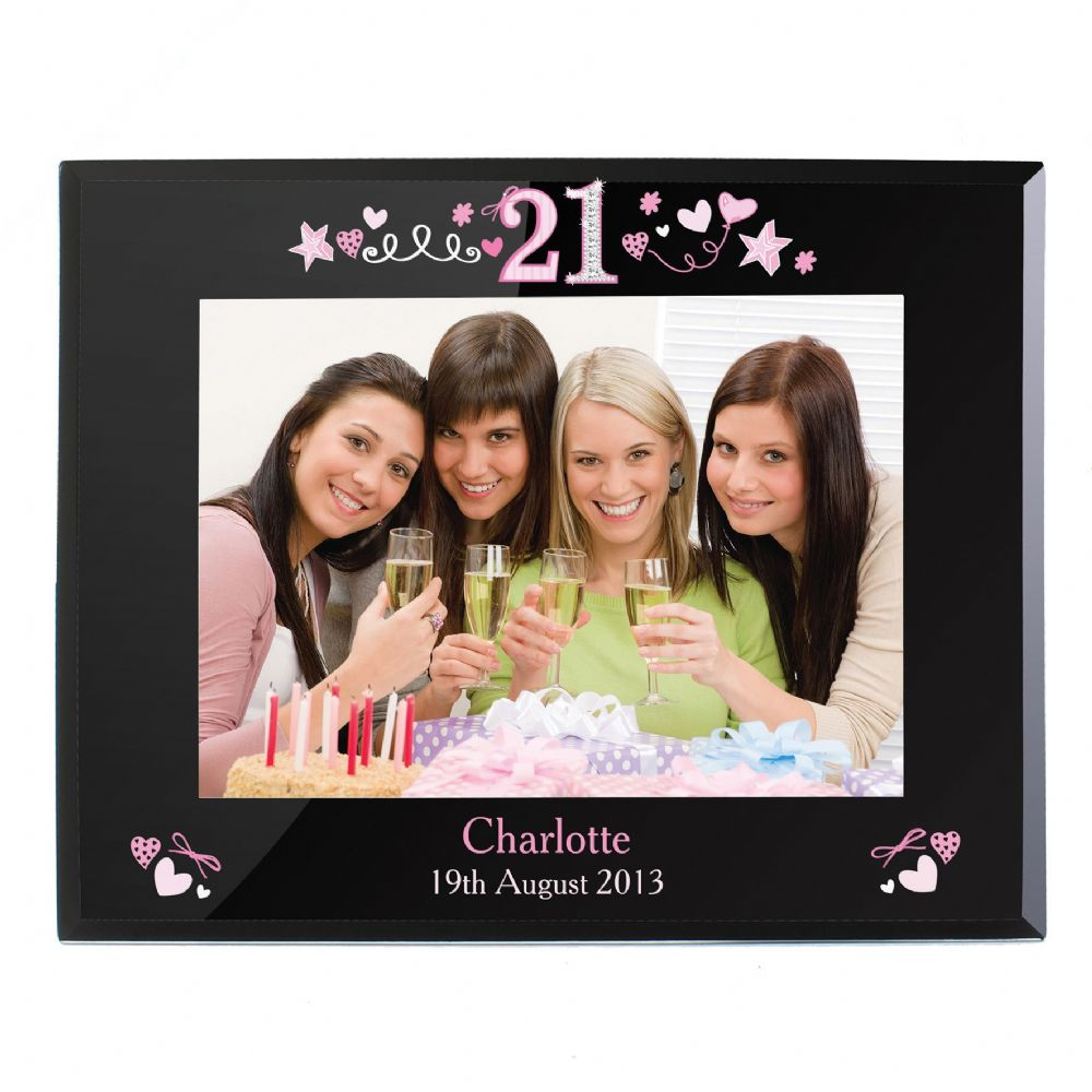 Personalised 21st Birthday Photo Frame Black Glass 7 x 5
